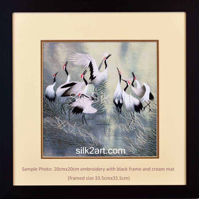 medium size embroidery with black frame and cream mat - sample 3